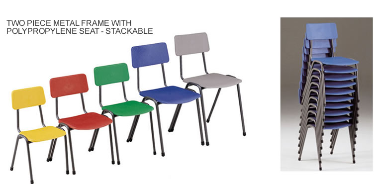Metal frame classroom chairs