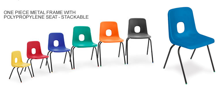 One piece metal frame classroom chairs